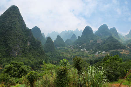 karst: Karst mountains around Yangshuo, Guanxi province, China Stock Photo