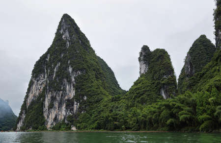karst: Karst mountains around Li river, Guangxi province, China Stock Photo