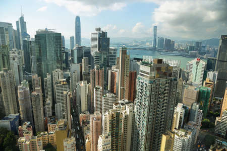 icc: HONG KONG, CHINA - SEPTEMBER 23, 2015: Skyline of the skyscrapers from Hopewell centre building in Hong kong island.