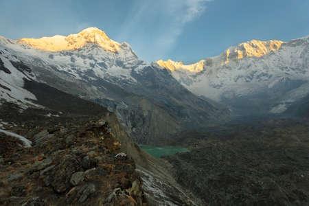 Mt Annapurna I and Annapurna South at sunrise from Annapurna base camp sanctuary, Nepal