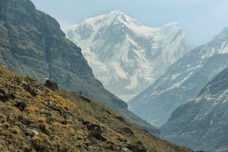 Rocky peaks hiking to Annapurna base camp, Nepal