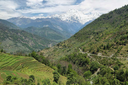 snowy field: View of Mt Annapurna South and Hiunchuli from Tolka village, Nepal Stock Photo