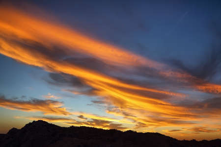 Amazing sky at sunset from Inspiration point in Joshua Tree National Park Stock Photo