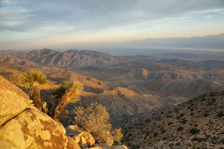 Mojave desert from Inspiration point in Joshua Tree National Park Stock Photo
