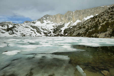 inyo national forest: Iced Ruby lake near Mono pass trail, California