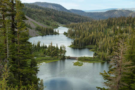 inyo national forest: Beautiful landscape of Twin lakes in Mammoth lakes, California