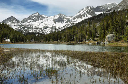 inyo national forest: Rewarding views of Marsh lake and mountains reflected in John Muir Wilderness, California