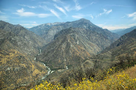 west river: Rugged mountains of Kings Canyon National Park in the southern Sierra Nevada, California, U.S.A.