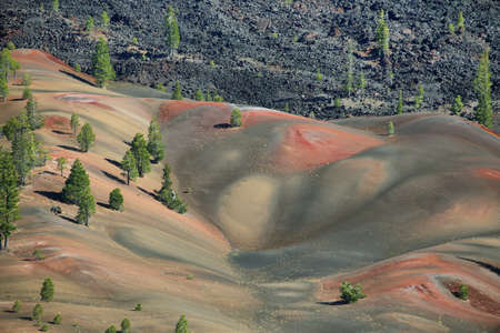 Painted dunes from Cinder Cone, Lassen Volcanic National Park, California
