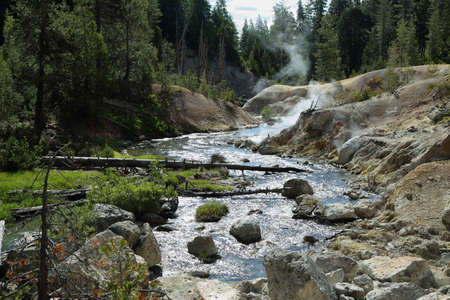 hydrothermal: Geothermal area in Devils kitchen, Lassen Volcanic National Park, California