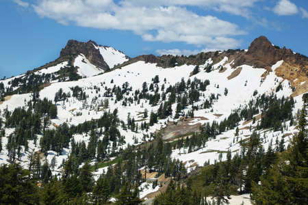 cascade range: Snow capped mountains at Lassen Volcanic National Park, California