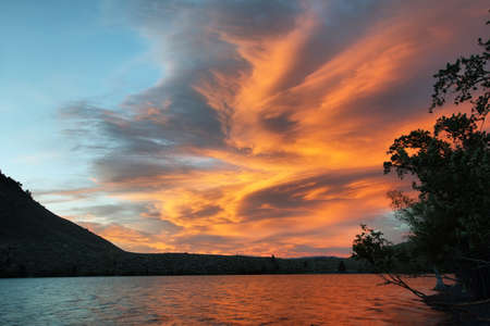 Amazing sky at sunset from Convict lake near Mammoth lakes, California