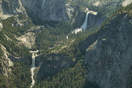 vernal: Nevada and Vernal falls from Washburn Point in Yosemite national Park, California