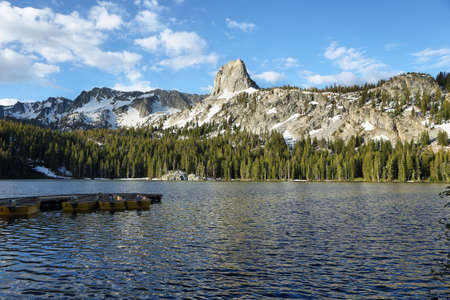 Mary lake and Crystal crag in Mammoth lakes national park, California Stock Photo