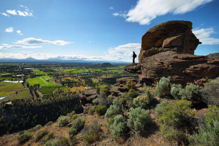 View of Monkey Face from the top of Misery Ridge, Smith Rock Park, Oregon