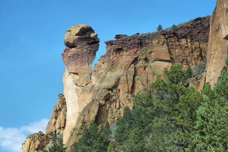 View of Monkey Face from Mesa verde trail, Smith Rock Park, Oregon