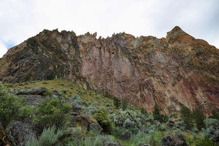 Sharp rocks in Smith Rock Park, Oregon Stock Photo