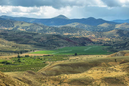 View of green and mountains from Carroll rim trail in Painted Hills National Monument in Oregon, USA