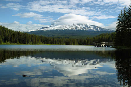 mount hood national forest: The Mount Hood reflection in Trillium Lake, Oregon