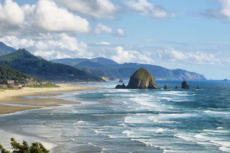 View of Cannon Beach in Oregon with Haystack Rock in the background