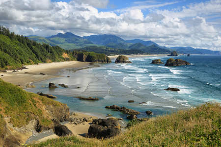 View of Cannon Beach and Indian beach in Ecola State park Oregon