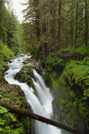 sol duc river: Sol Duc Falls in Olympic national park, USA Stock Photo