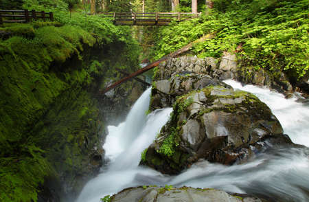 sol duc: Sol Duc Falls in Olympic national park, USA Stock Photo
