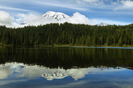 Scenic view of Mount Rainier reflected in reflection lakes, USA Stock Photo