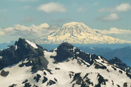 View from Skyline Trail of Tatoosh Range and Mount Adams at background, Mount Rainier national park, Washington, USA Stock Photo