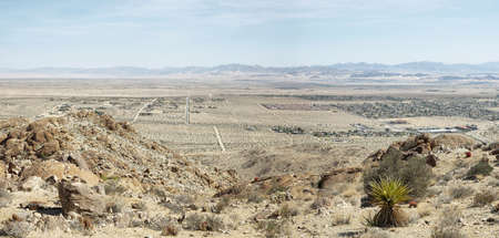 Mojave desert from 49 palms Oasis trail in Joshua Tree National Park Stock Photo