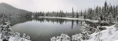northwest: Sparks lake in a snowy day on June, Oregon, USA