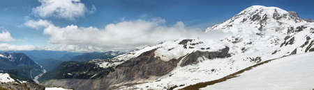 View of Mount Rainier summit covered by snow from Skyline trail, Washington, USA Stock Photo