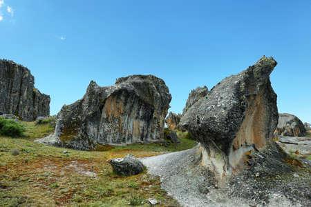Hatun Machay stone forest in Ancash province, Peru.