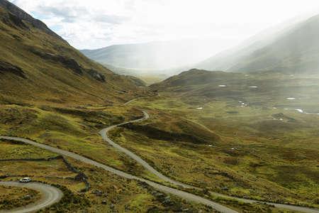 ancash: View of winding road going to Pastoruri glacier in Peru Stock Photo