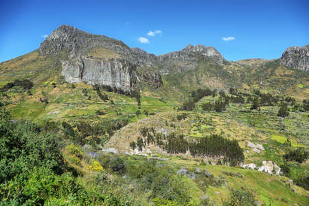 ancash: Green valley with farming terraces, rolling hills in Ancash province, Peru Stock Photo