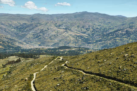 ancash: View of Huaraz city and surrounding mountains in Ancash, province, Peru