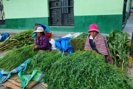 ancash: YUNGAY, PERU - JUNE 7: women selling diferent plants and herbs in small stall of Yungay market on June 7, 2017 in Yungay, Ancash province, Peru Editorial
