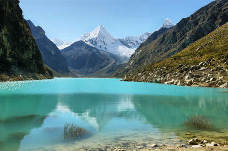 Paron lake and Pyramid peak, Ancash province, Peru Stock Photo