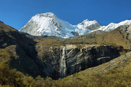ancash: Views of peaks and waterfall in the to Paron lake, Ancash province, Peru