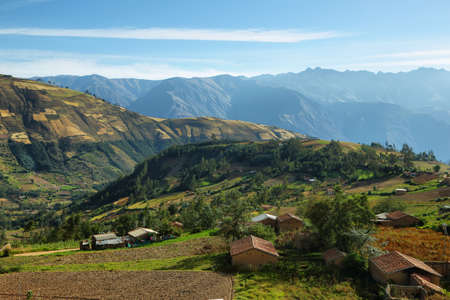 ancash: Views of houses and terraced fields in the way to Yungay, Ancash province, Peru Stock Photo