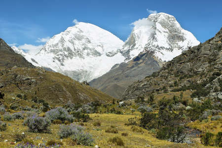 ancash: Mt Huascaran from Laguna 69 trail, Ancash province, Peru Stock Photo