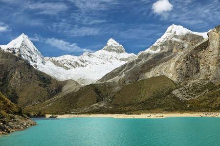 ancash: Paron lake and Pyramid peak, Ancash province, Peru Stock Photo