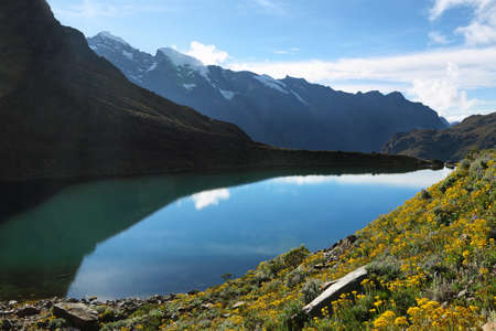 ancash: Belaunde lake from Punta Olimpica pass, Ancash province, Peru Stock Photo
