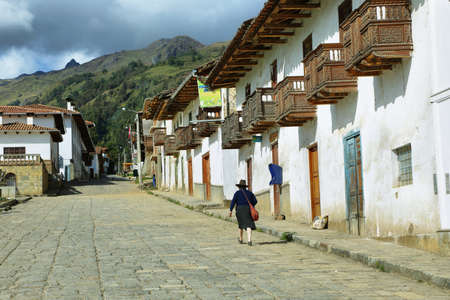 ancash: Chacas, Peru - June 9, 2017: Beautiful indigenous houses in village of Chacas, Ancash province, Peru.