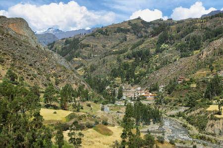 ancash: View of San Luis village and surrounding landscape in Ancash province, Peru