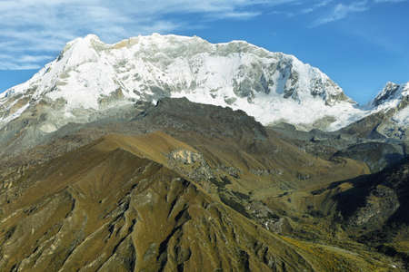 ancash: View of Huascaran peak from Punta Olimpica pass, Ancash province, Peru Stock Photo