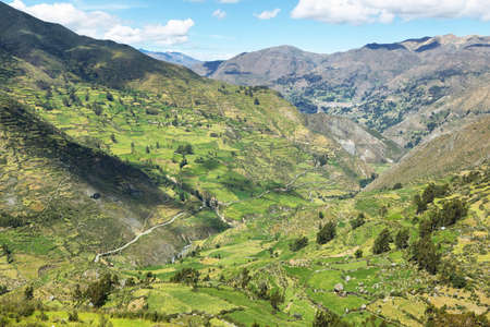 ancash: View of fields in the way to Huanuco, Ancash province, Peru