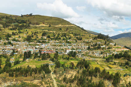 ancash: View of fields and villages in the way to Huanuco, Ancash province, Peru Stock Photo