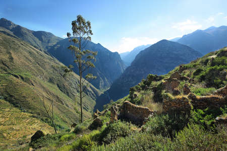 unexplored: Ghost ancient village of Huaquis in Nor Yauyos Cochas, Peru