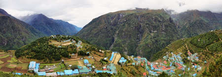 Panoramic view of Namche Bazaar village on the way to Everest Base Camp, Khumbu Region, Nepal Himalaya. Stock Photo